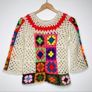 1970s Vintage Handmade Granny Square Crochet Top S